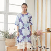 【Tiara Tiara】百貨同步 純棉後背扣大印花五分袖洋裝 (藍)