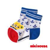 MIKI HOUSE  日本製 小熊速乾透氣短襪(藍)