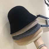 漁夫帽女韓版加厚日系秋冬季保暖針織毛線盆帽【少女顏究院】