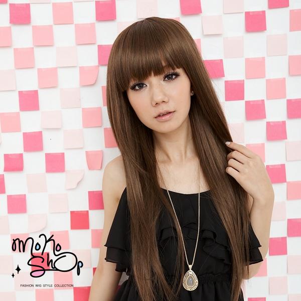 【MokoShop假髮專賣店】層次空氣感齊瀏海飄逸長直髮全頂假髮【LY033】