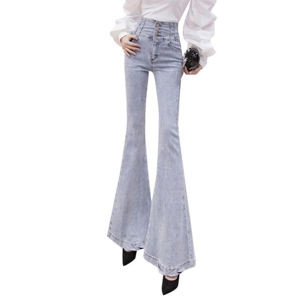 限時特價 高腰大喇叭褲女彈力喇叭牛仔褲韓版修身長褲顯瘦OL百搭年新款