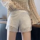 居家可外穿安全褲女防走光寬鬆打底褲短褲蕾絲夏季白色薄款不卷邊 快速出貨