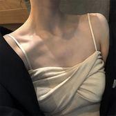 打底吊帶女白色內搭韓版簡約復古純色修身百搭黑色針織吊帶背心女