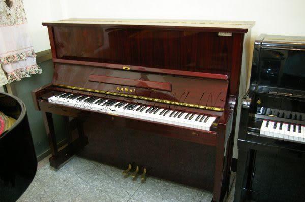【HLIN漢麟樂器】-日本原裝kawai河合123號直立式中古二手鋼琴-原木-亮黑-豪華48