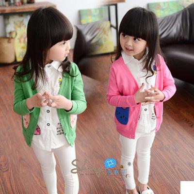 【R0056】shiny藍格子-嬰幼館. 春秋新款女童卡通休閒長袖外套