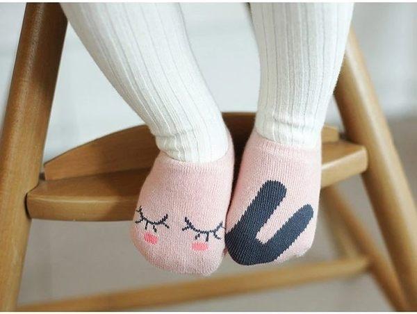 童裝 現貨 棉質粉色不對稱防滑船襪-1歲內可穿【A34】