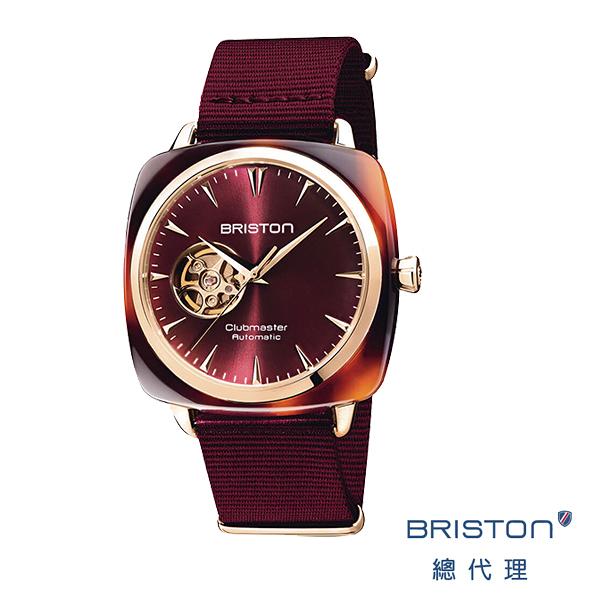 BRISTON AUTOMATIC 鏤空 自動上鍊腕錶 機械錶 折射光感紅錶盤 玳瑁琥珀框 時尚百搭 禮物首選