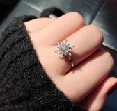 雪花戒指可旋轉轉動戒指女時尚個性可調節食指指環