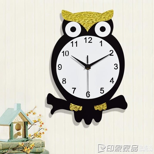 可愛卡通兒童時尚鐘表臥室掛鐘創意超靜音個性家用裝飾牆掛表時鐘  印象家品