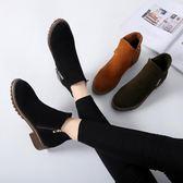 新款小短靴女 韓版百搭 中跟側拉鍊短筒馬丁靴 ☸mousika