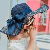 海邊沙灘帽韓版可摺疊大檐草帽女度假防曬太陽帽夏季遮陽帽子 露露日記