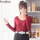 質感內搭衣--零著暖感親膚舒適素面圓領貼身收腰長袖內搭衣(黑.灰.紅XL-3L)-X228眼圈熊中大尺碼◎