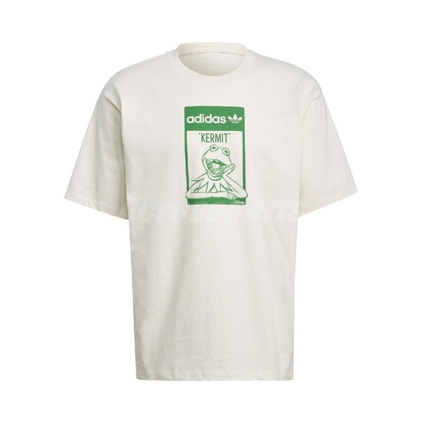 adidas 短袖T恤 Original Tee Kermit 米白 綠 男女款 短T 科米蛙 迪士尼 運動休閒 【ACS】 GQ4152