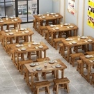 面館桌椅飯店小吃店桌椅快餐桌椅組合實木餐館食堂餐桌燒烤碳化桌 夢幻小鎮