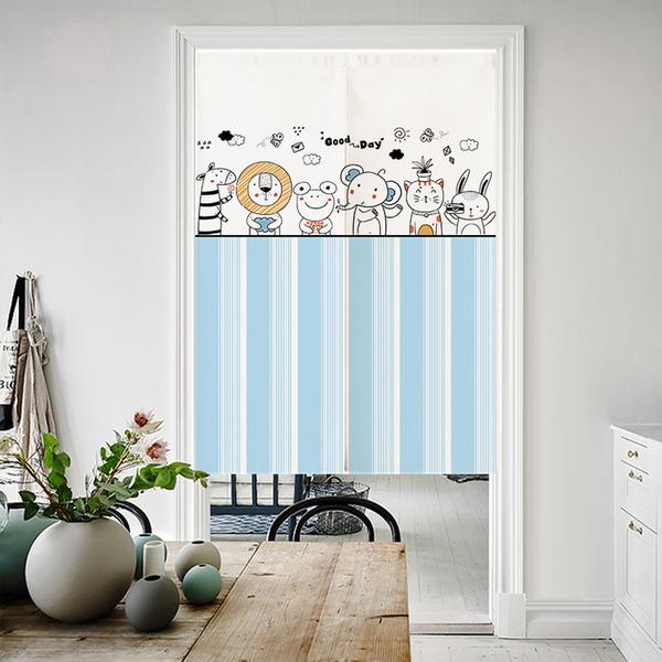 可愛時尚棉麻門簾E722 廚房半簾 咖啡簾 窗幔簾 穿杆簾 風水簾 (85cm寬*200cm高)