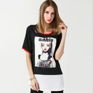 小中大尺碼圓領雪紡印花T恤棉長版寬鬆上衣  黑色 XL # sn3620 ❤卡樂store❤