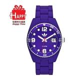 Adidas 台灣授權代理公司貨 出清7折 街頭多彩格紋矽膠腕錶 ADH6178 紫色