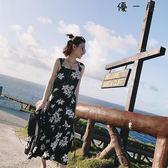 女裝韓版吊帶長裙碎花雪紡洋裝