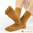 五指襪女秋冬純棉中筒防臭吸汗可愛日系保暖素色五趾分腳趾高筒襪【小獅子】