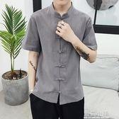 新中山裝男士夏季棉麻短袖古裝男襯衫漢服民國風青年唐裝盤扣上衣 藍嵐