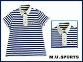 MU 2018 夏 女裝 寶藍條紋領口蕾絲高爾夫Polo衫