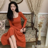 法式方領復古修身長袖連衣裙女2020秋季新款內搭打底裙中長款裙子 蘿莉新品