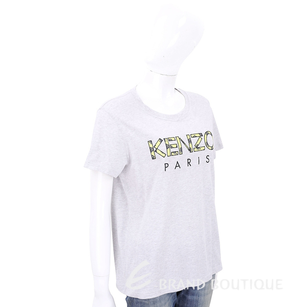 KENZO 玫瑰字母設計灰色棉質短袖T恤 1920203-06