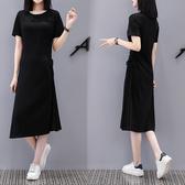 韓 長版T 洋裝中大尺碼M-4XL新款韓版收腰顯瘦抽繩流行T恤連衣裙夏女GB608.6036依品國際