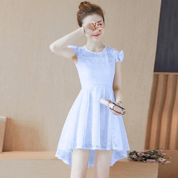 白色洋裝 嬌小個淑女2020夏裝新款韓版女裝小清蕾絲修身顯瘦露肩洋裝