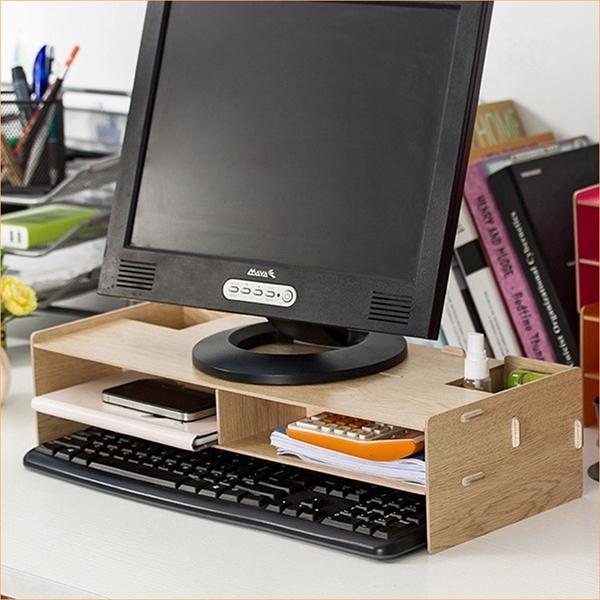 [拉拉百貨]木質DIY拼裝電腦架 電腦架 螢幕架 木質收納 電腦螢幕增高收納架 螢幕增高架
