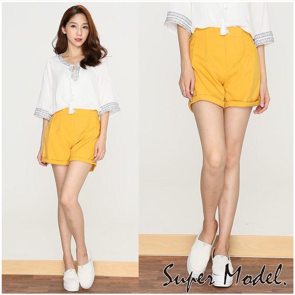【名模衣櫃】高挑顯瘦反摺短褲-黃色(M-XL適穿)  32291-05