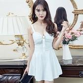 現貨白均碼無袖洋裝禮服連身裙28195