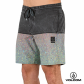 VOLCOM STONEY 拼接海灘褲-水洗黑x多色潑墨印花