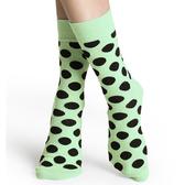『摩達客』瑞典進口【Happy Socks】淡綠黑圓點中統襪(60112081011)