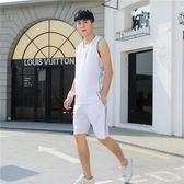 男士套裝 男士健身房跑步服純棉無袖背心短褲套裝LJ10082『夢幻家居』