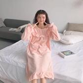 睡裙睡衣女秋冬長袖可愛中長款睡裙荷葉邊長袖套頭小清新長款 麗人印象 全館免運