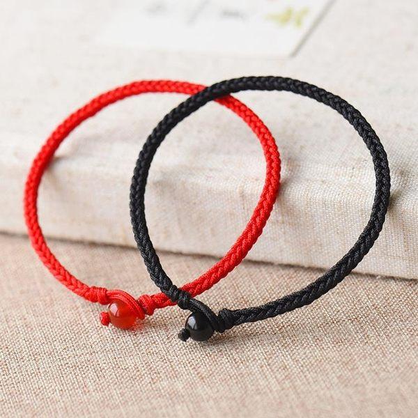 開光幸運情侶手鍊一對 紅繩手鍊女男手工編織手繩簡約學生本命年