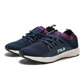 FILA 深藍 桃紅 編織襪套 透氣 休閒鞋 慢跑鞋 女 (布魯克林)  5J307R321