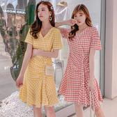 清倉$388 韓國學院風時尚V領單排釦格紋短袖洋裝