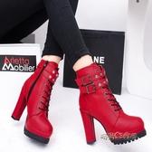 秋冬新款高跟馬丁靴女短靴粗跟英倫風鉚釘單靴性感皮帶扣女鞋「時尚彩紅屋」
