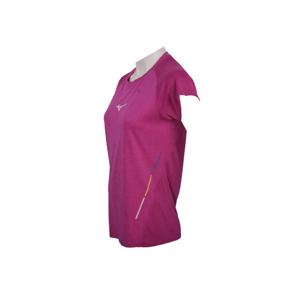 [陽光樂活]MIZUNO 美津濃 女路跑短袖T恤 Run&Peace 台灣製造 J2TA620567紫紅