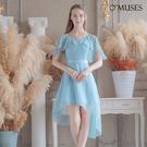 OMUSES 訂製款雪紡前短後長藍色禮服...