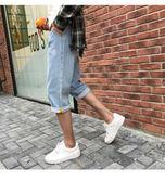 薄款男士七分牛仔褲正韓潮流寬鬆直筒天7分短褲淺色褲子男【全館免運】