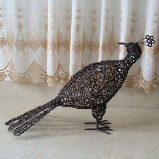 結婚禮物家居裝飾品創意禮物藤鐵工藝品女生日禮物擺件孔雀開屛