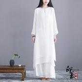 2020春夏新款甜美仙氣文藝復古民族中國風禪意茶服棉麻套裝女