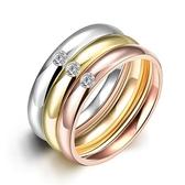 鈦鋼戒指 鑲鑽-三環時尚精緻百搭生日情人節禮物男飾品73le31【時尚巴黎】
