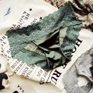 三角褲 蕾絲內褲女歐美復古性感緞面火辣鏤空透明網紗無痕中腰包臀三角褲-Ballet朵朵
