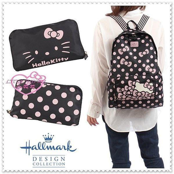 ♥小花花日本精品♥ Hello Kitty Hallmark聯名後背包背包可收納聯名水玉黑42075509