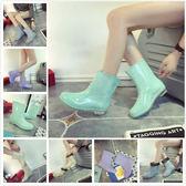 春秋雨鞋女夏保暖加絨水鞋女士中筒雨靴時尚套鞋防滑洗車廚房水靴 萬聖節