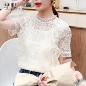 韓版chic復古洋氣小眾蕾絲襯衫女2020夏法式少女鏤空鉤花超仙上衣大碼T恤 居享優品
